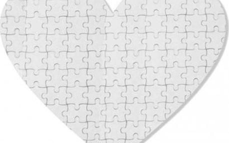 Puzzle srdce 19,5x19,5 cm 75 dílků
