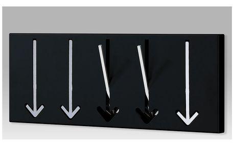 Nástěnný 5-háčkový věšák, černá/chrom, 31946-5 BK