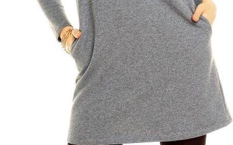 Akce - Bavlněné mini šaty s kapsami Armina – šedý melír 42
