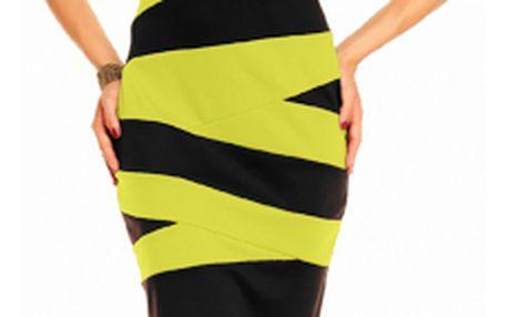 Akce - Pruhované šaty Olga 38, citrónová