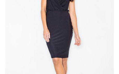 Elegantní šaty Rosalie s překřížením v dekoltu – černé S