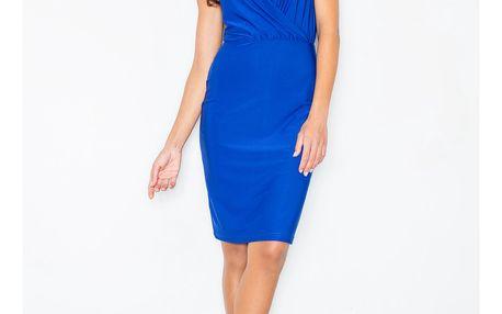 Elegantní šaty Rosalie s překřížením v dekoltu – modré L