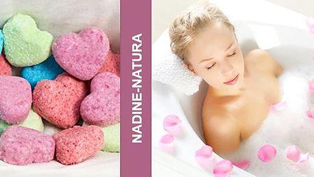 Relaxační šumivé koule nebo srdíčka do koupele s obsahem mandlového oleje pro hebkou pokožku! Výběr z mnoha vůní.