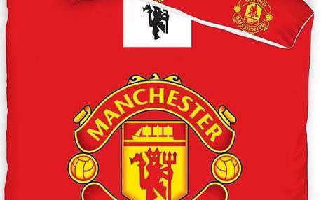 Tip Trade Bavlněné povlečení Manchester United Erb, 140 x 200 cm, 70 x 90 cm