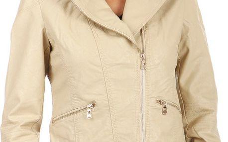 Koženková dámská bunda se zipem na straně béžová