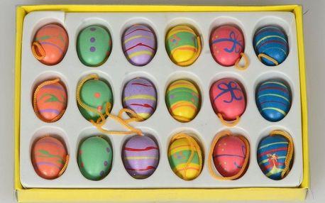 Velikonoční dřevěná vajíčka zavěsná, 18 ks, HTH