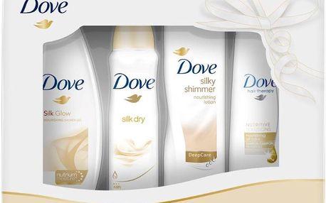 Dárková kazeta Dove Silk - sprchový gel + deospray + tělové mléko + šampon 250 ml + 150 ml + 250 ml + 250 ml