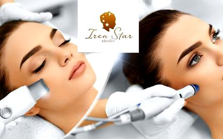 Kosmetické ošetření pleti ultrazvukem s kolagenovou maskou či mikrodermabraze + diamantový peeling a korekce obočí.
