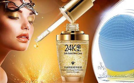Kosmetické přípravky pro domácí použití. Omlazující sérum s 24karátovým zlatem či sonický čistič pleti.