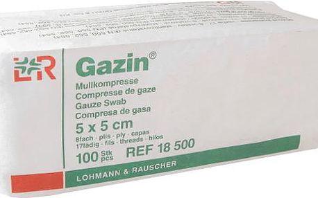 Gáza hydrofilní skládaná kompr.Gazin 5 x 5 cm / 100 ks 8 vrstev