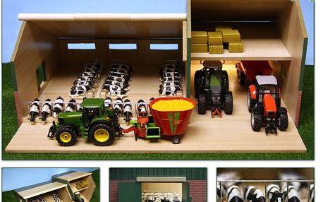 Stáj s garáží pro traktory dřevěná 55x72x32cm v krabičce 1:32