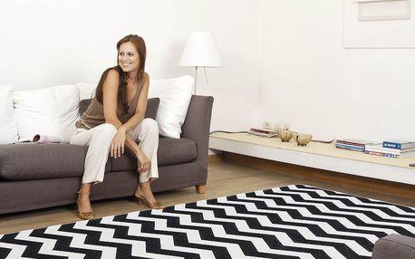 Vysoce odolný kuchyňský koberec Optical Black White, 130x190 cm - doprava zdarma!