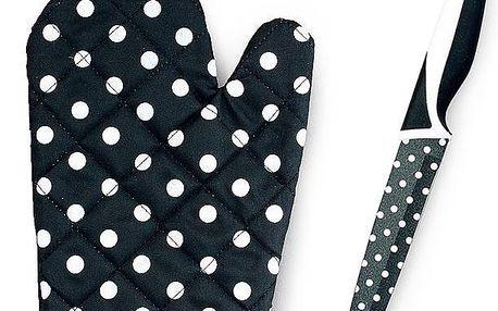 Nůž s teflonovým povrchem, chňapka zdarma černobílá