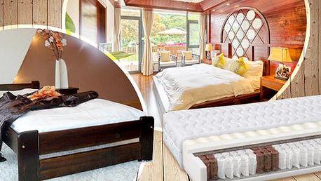 Set nábytku do ložnice 5v1! Postel 80x200cm, rošt, matrace dle výběru, úložná zásuvka - více rozměrů a noční stolek.