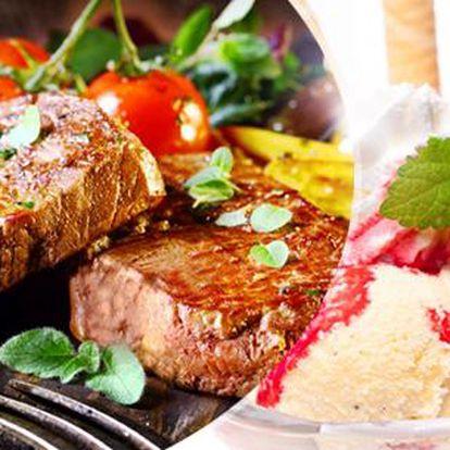 Steakové vepřové menu s oblohou a 3 omáčkami pro 2 osoby a výběr z dezertů - horké maliny, jablečný závin!