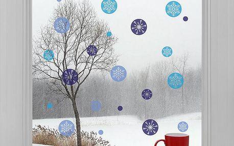Housedecor Samolepky na sklo Modré vločky, Barevná