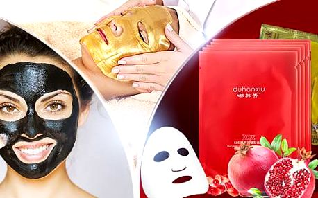 Pleťová maska pro péči o pokožku v pohodlí domova. Černá korejská maska, zlatá maska či granátová maska vč. pošty.