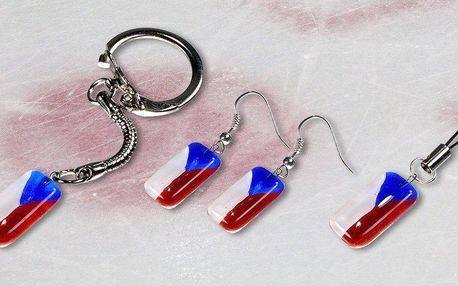 Skleněné šperky WAGA s českou vlajkou