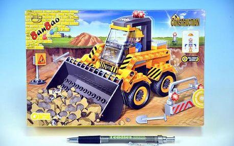 Stavebnice BanBao Nakladač na zpětný chod 103ks + 1 figurka v krabici 23x15x5cm