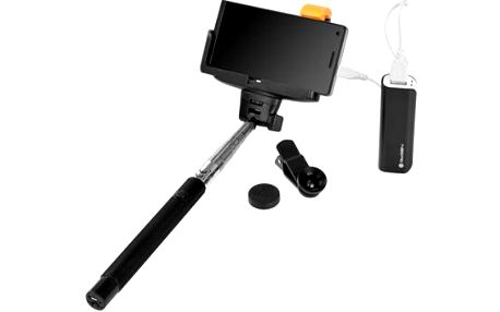 Selfie tyč GoGEN 3in1, selfie tyč, power bank, mini objektiv (GOGBTSELFIEKIT3IN1) černá