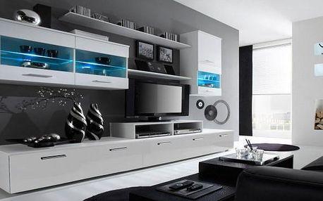 Moderní obývací stěna Alfa v bílém provedení