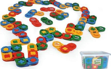 Stavebnice kostky domino plast 64ks v plastovém boxu Wader