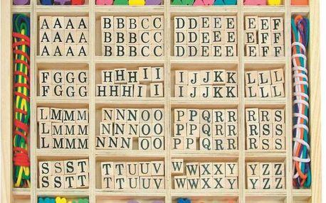 """Hračka Woody Navlékací perle v dřevěné krabici """"ABC a tvary"""""""