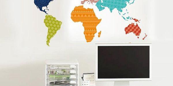 Barevná mapa světa 90 x 60 cm