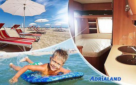 Týden s možností plné penze v karavanu v kempu Adria přímo u pláže - Riccione, Itálie