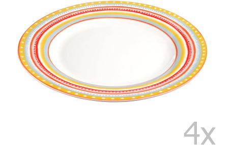 Sada 4 porcelánových talířků Oilily 22 cm, žlutá
