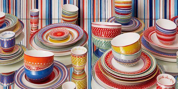 Sada 4 porcelánových talířů na polévku Oilily 24,5 cm, modrá2