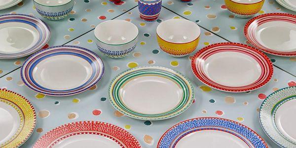 Sada 4 porcelánových talířů na polévku Oilily 24,5 cm, modrá4