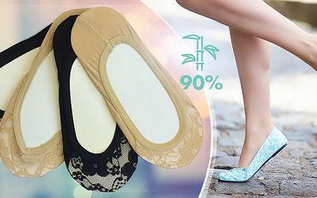 Dámské krajkové ponožky do balerínek - 12 párů s 90% bambusu. Výběr barev - černá, tělová nebo mix.
