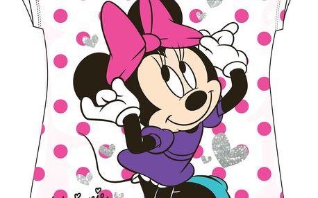 E plus M Dívčí puntíkované tričko Minnie - růžové, 110 cm
