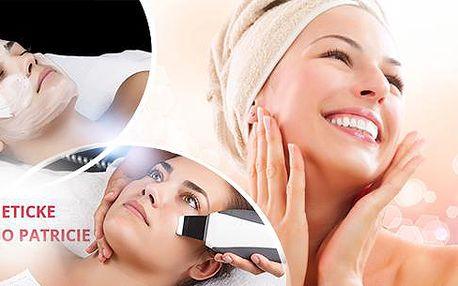 70min. kosmetické ošetření: enzymatický peeling, ultrazvuková špachtle, masáž obličeje v Olomouci.