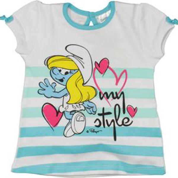 E plus M Dívčí tričko Šmoulové - modro-bílé, 68