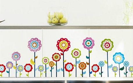 Barevné květiny 60 x 32 cm