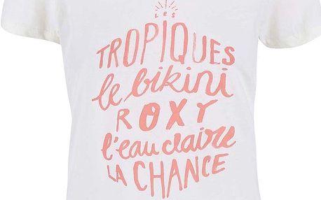 Krémové tričko s potiskem Roxy Crew Tropique