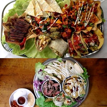 Mexické degustační plato pro 2 osoby v restauraci U Kroužků. Nachos, quesadilla, burrito, tacos, ...