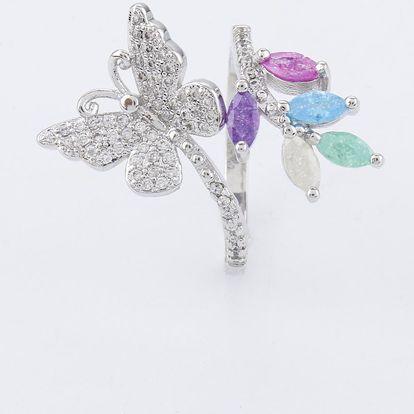 Prsten Butterfly Love s motýlem a zirkony