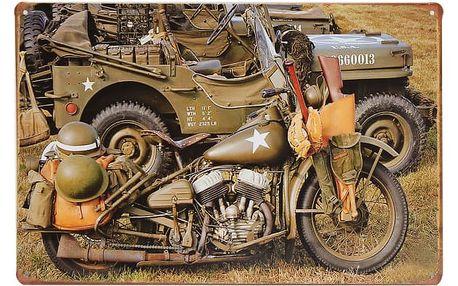Retro plechová cedule - americký vojenský motocykl