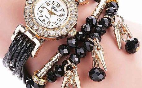 Dámské vícevrstvé hodinky s korálky - poštovné zdarma