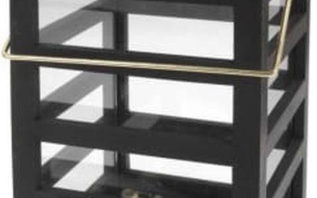 Lucerna dřevěná 18 x 18 x 30 cm černá/zlatáProGarden KO-ASH302700