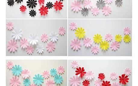 Samolepící 3D květiny na zeď