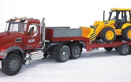 Bruder Nákladní auto MACK Granit - návěs + traktor JCB BR2813