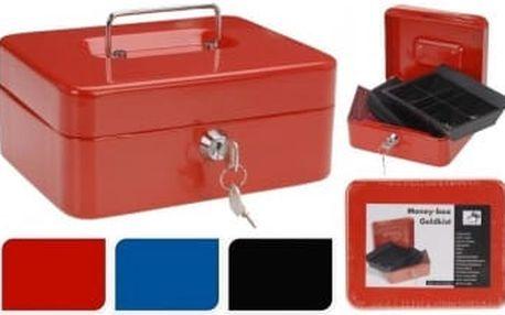 Příruční pokladna 20x16x9 cm, kovová, červená EXCELLENT KO-CY8000560cerv