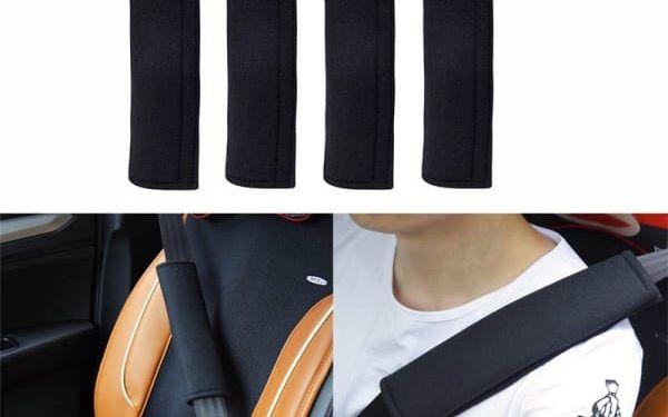 4 kusy černých návleků na bezpečnostní pásy