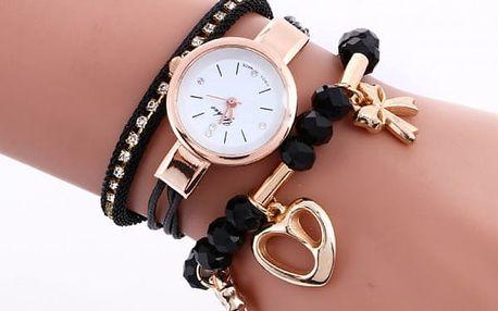 Dámské hodinky s vícevrstvým páskem z korálků a drobných ozdob - 7 barev