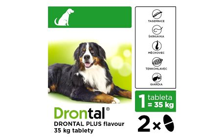 DRONTAL Plus flavour pro psi nad 35 kg a.u.v. 2 tablety