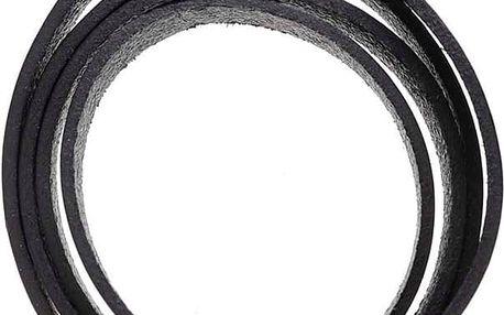 Černý pánský kožený náramek Lucleon Winkel